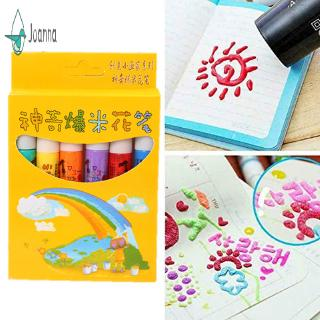 【JA】 6Pcs Magic Popcorn Pens Puffy 3D Art Safe Pen for Greeting Birthday Cards Kids