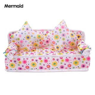 Mini Furniture Flower Fabric Sofa Couch + 2 Cushions for House Accessories
