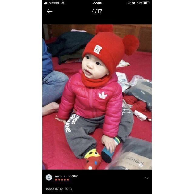Bộ khăn mũ len 2 quả bông cho bé