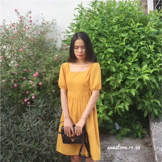 Đầm váy dự tiệc dáng xòe cổ vuông cột dây hông eo tay phồng | WebRaoVat