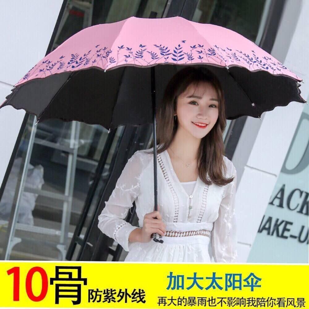 Tri-fold 10 กระดูกสีดำพับพลาสติกร่มป้องกันรังสียูวีร่มหญิง