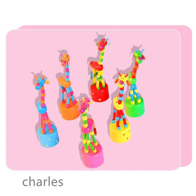 Good Wooden Giraffe Cartoon Rocking Wooden Toys Development Dancing Spring Educational Gifts