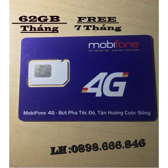 Sim Mobi 62GB/tháng Free 7 tháng. BH đủ 7 tháng
