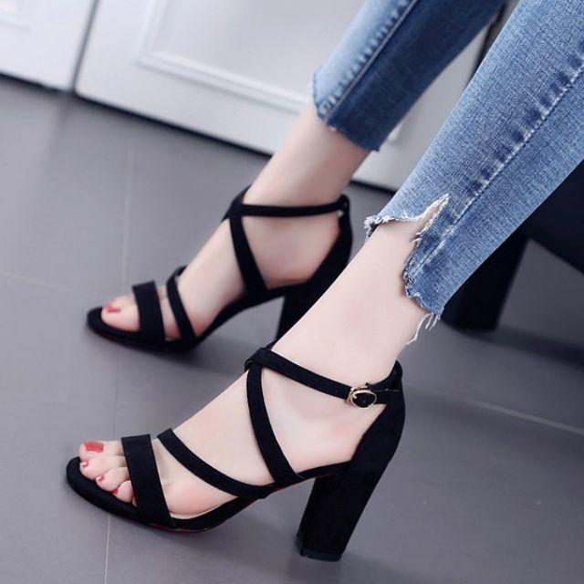 Giày cao gót nữ, sandal cao gót 7 phân da lộn 3 dây chéo mảnh (JR13)