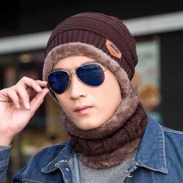 Mũ len 2in1 kèm khăn