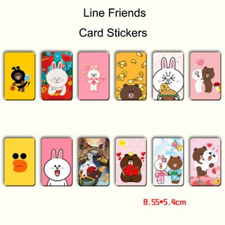 Line Friends Cartoon Bear Brown Cony Bus Train ID IC Credit Debit Card Stickers