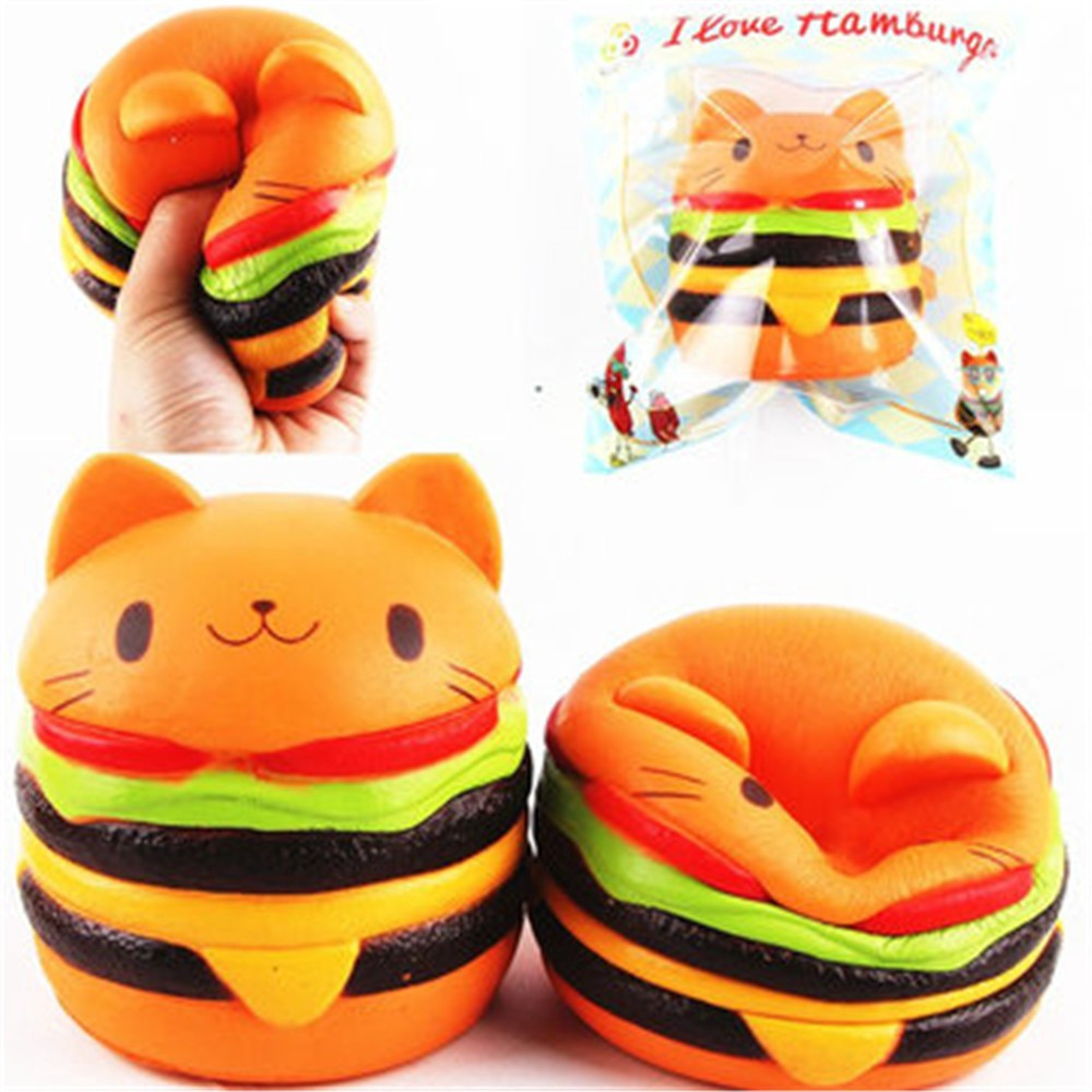 Jumbo Squishy Cat Burger Slow Rising Soft Animal Collection Gift Decor Toy