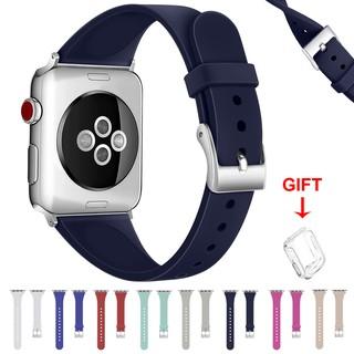 Dây Đeo Silicone Cho Đồng Hồ Thông Minh Apple Watch Series 6 / Se / 5 / 4 / 3 / 2 / 1 Kích Thước 38mm 40mm 42mm 44mm