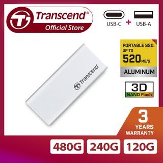 [Mã ELMALL300 giảm 7% đơn 500K] Ổ cứng di động cắm ngoài SSD Transcend ESD240C TypeC bạc