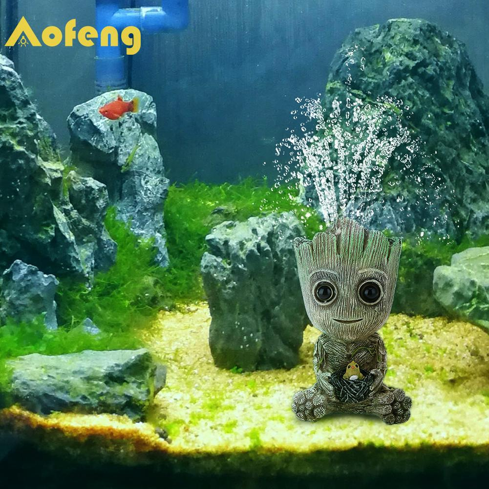Phụ kiện sủi bọt khí trang trí bể cá hình người cây mini sáng tạo