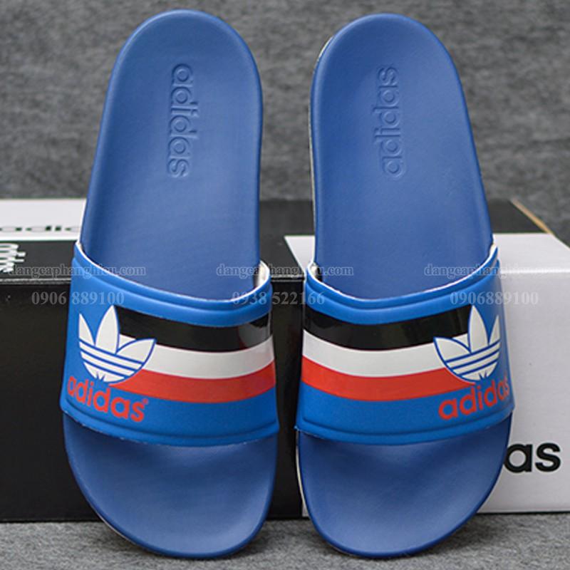 Dép Adidas Cloudfoam Plus Sample màu xanh đế trắng quai xanh ba lá đen trắng đỏ