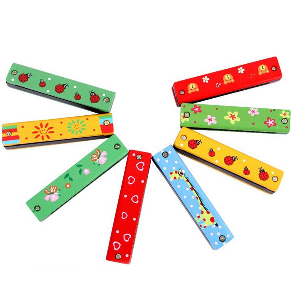 High Quality Cartoon Painted Wooden Harmonica kindergarten early education develop intelligence Musical Toys Instrument