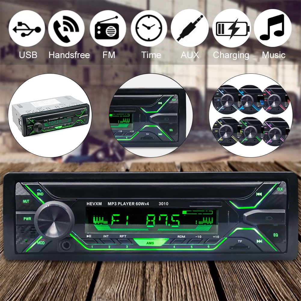 12V USB Universal Aux Colorful Lights Audio Car Bluetooth Portable Stereo Radio MP3 Player LCD