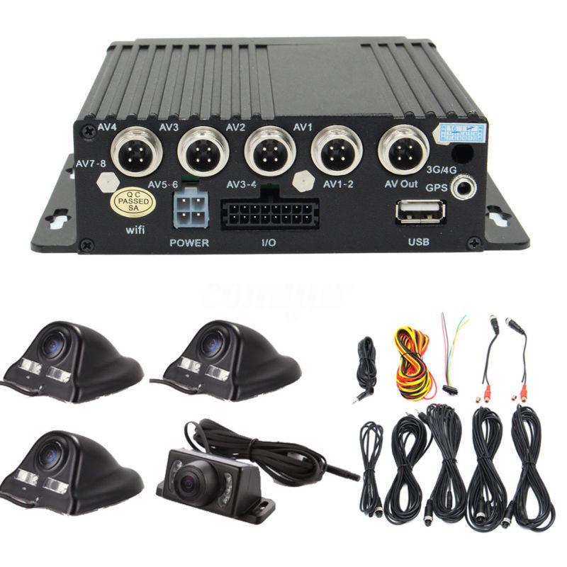 4CH Car Digital DVR Camera Security Video Recorder SD 4 CCD Rear View Kit