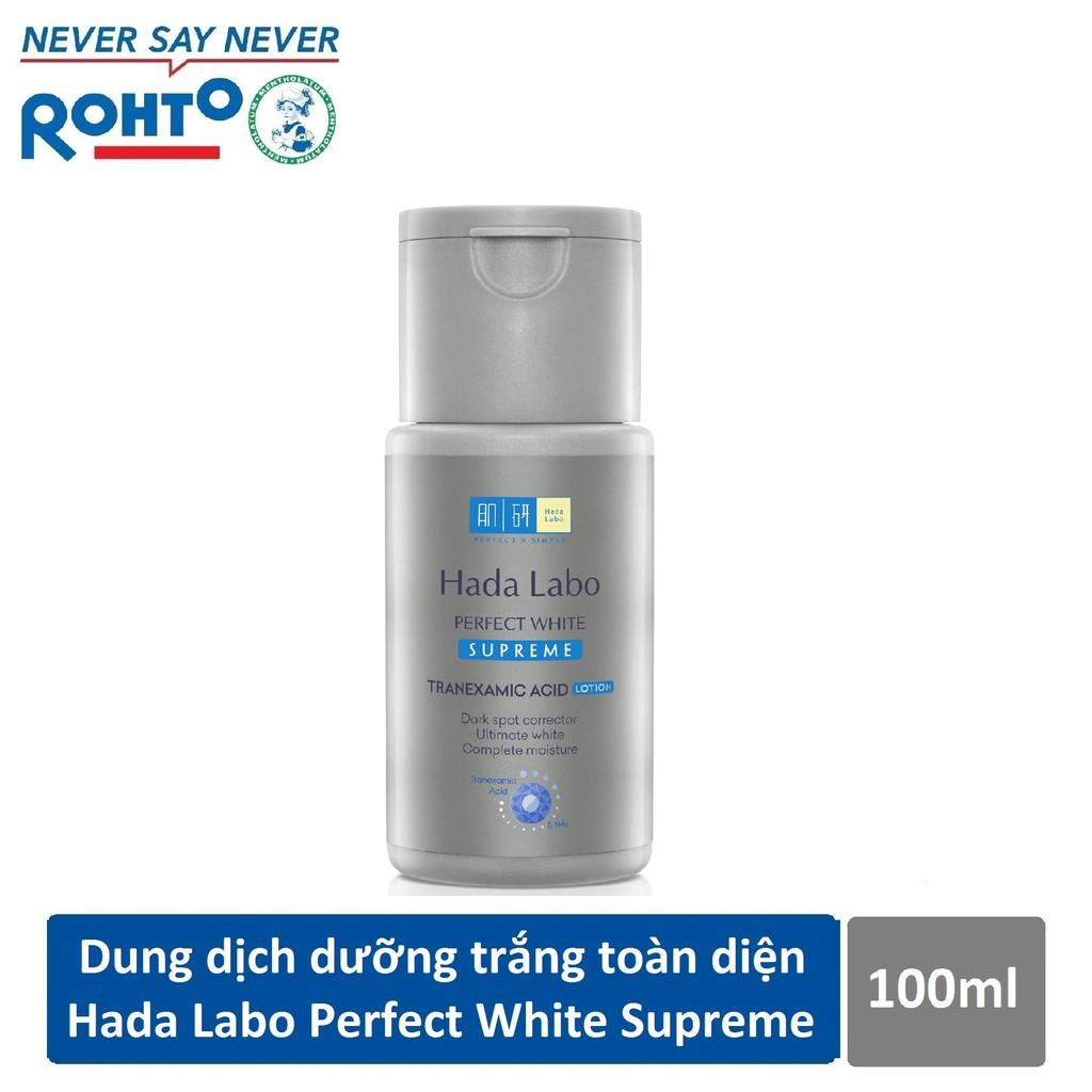 Bộ đôi dưỡng trắng toàn diện Hada Labo Perfect White Supreme (Dung Dịch 100ml + Kem Dưỡng 50g)
