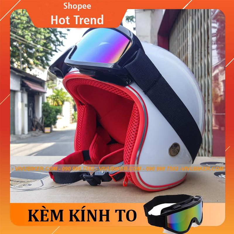 [BẢO HÀNH 12TH] Nón bảo hiểm 3/4 đi du lịch siêu đẹp màu trắng lót đỏ kèm kính UV to cao cấp - Mũ 3/4 nhiều màu lót chọn