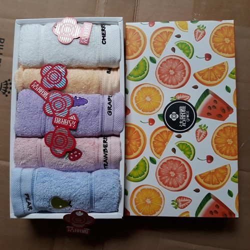 [LuxCeo] Hộp 5 khăn mặt hoa quả cao cấp
