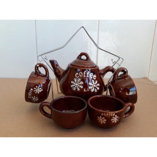 Bộ tách trà cây dừa kèm giá treo