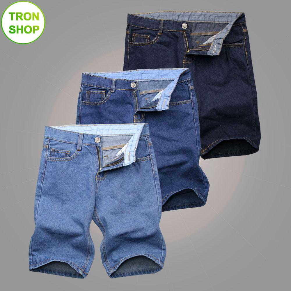 Combo 3 quần shorts jeans nam vải dày 3 màu xanh nhạt, xanh đậm, xanh đen