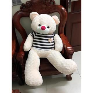 Gấu bông Teddy Cao Cấp khổ vải 1,2m Cao 1m màu trắng hồng hàng VNXK ( Màu kem )