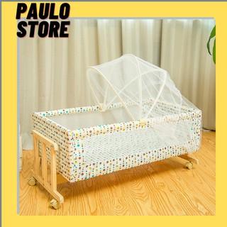 💥 Nôi cũi gỗ, Giường nôi gỗ cao cấp cho bé đu đưa cho bé tặng kèm màn