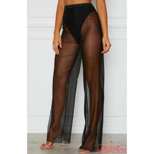 2f4e169efe ☎POP❤Women´s Summer Beach Mesh Sheer High Waist Pants Bikini Cover Up Loose  Trousers - POPWomens Summer Beach Mesh Sheer High Waist Pants Bikini Cover  Up ...