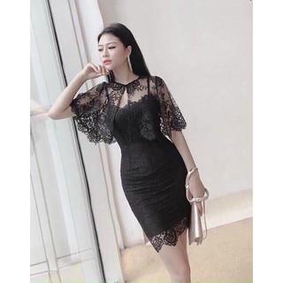 [ FREESHIP ] Đầm Dự Tiệc Nữ – Đầm Body 2 Dây Ren Kèm Áo Khoác Thời Trang Gautier