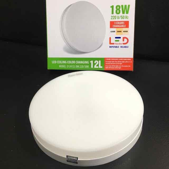 Đèn LED Ốp Trần Đổi Màu Rạng Đông Tròn D LN12L ĐM 220/18W - Đường kính 220mm