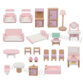 WM Wooden Dollhouse Furniture Set, 22 Piece Fully Assembled Pretend Playhouse Set