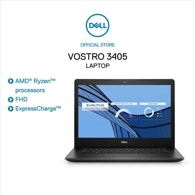"""[Mã ELMIDNIGHT giảm 7% đơn 2TR] Laptop Dell AMD R5-3500U 4GD4,256GB,14""""FHD Anti-Glare,Win10,Đen(V4R53500U001W)"""