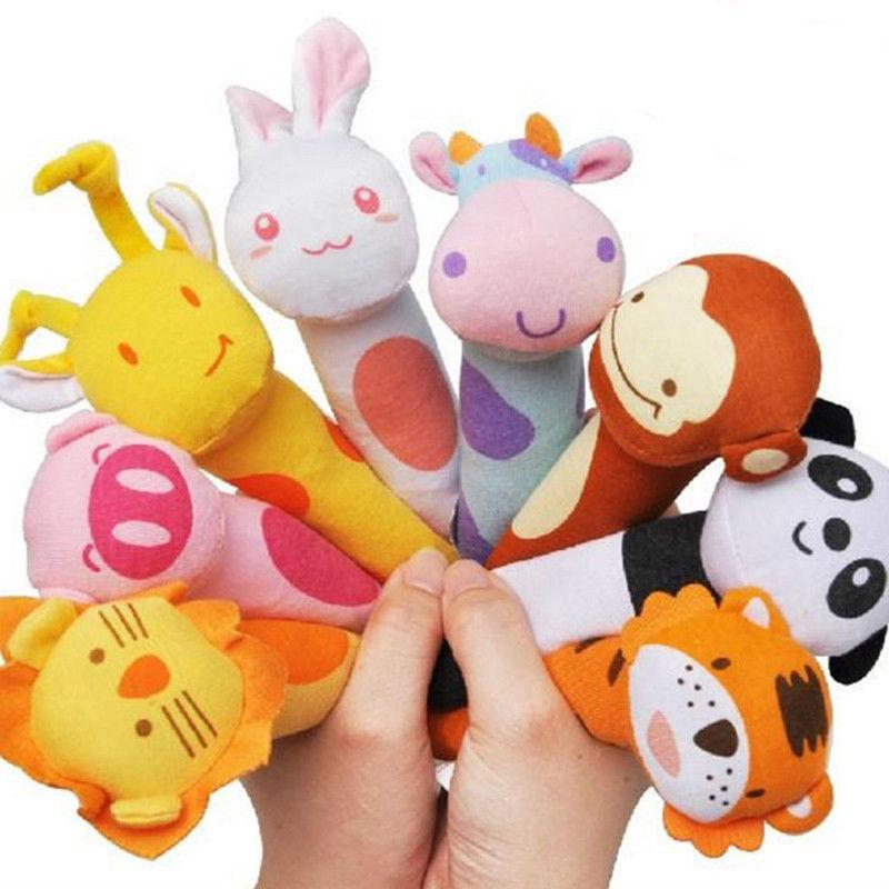 5pcs Infant Baby Animal Pattern Cartoon Hand Bell Ring Rattles Soft Plush Toy