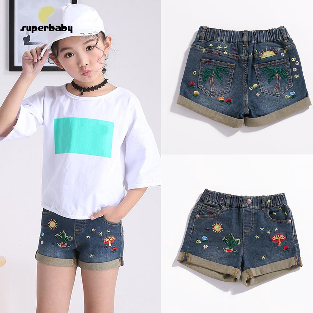 SBaby-Fashion Kids Girls Cactus Embroidery Elastic Band Casual Summer Denim Shorts