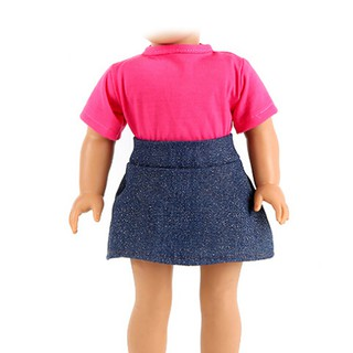 MUL❤❤ 2Pcs handmade doll t-shirt + skirt clothes for 18 inch 43cm dol