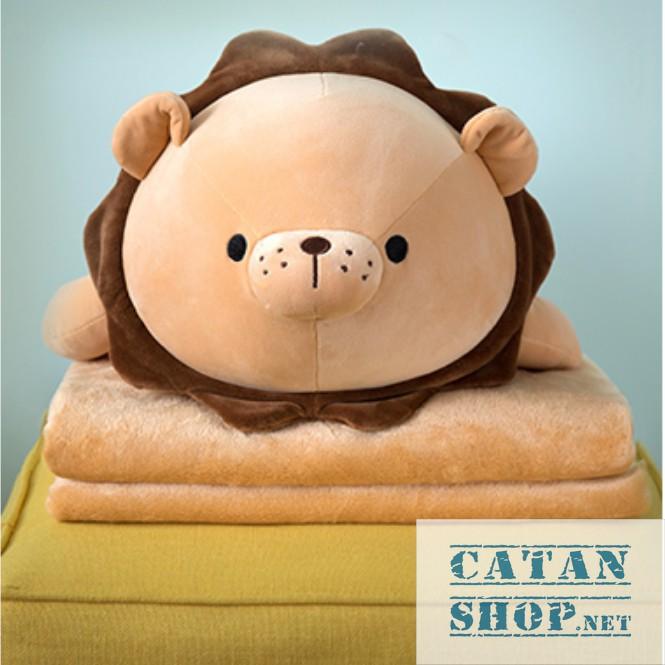 Gối mền sư tử mập, ngựa 1 sừng mập 3 trong 1 siêu cute, vải thun 4 chiều cực mịn, chăn gối văn phòng,gấu bông
