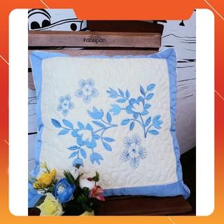 Vỏ Gối Vuông tựa lưng ⚜️Gối vuông tựa lưng⚜️ Gối vuông tựa lưng Thêu Satin hàng đẹp dày dặn chất liệu cotton