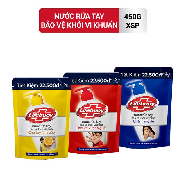 [MÃ COSMALL30 -10% ĐH250k]Nước rửa tay Lifebuoy Bảo vệ khỏi vi khuẩn 450gr (Túi)