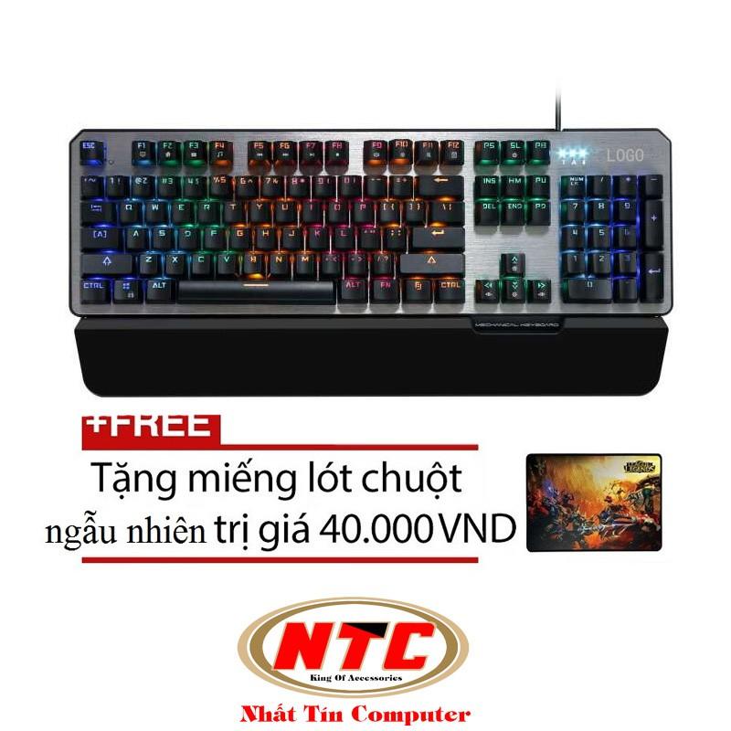 Bàn phím cơ cao cấp Comanro S100 Pro Led RGB đa màu (Đen) + Tặng kèm đế lót tay và Lót chuột ngẫu nh
