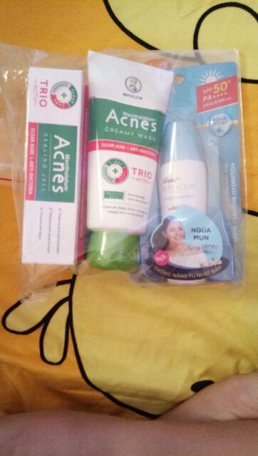Đánh giá sản phẩm Bộ sản phẩm chống nắng ngừa mụn Sunplay Acnes (Sữa chống nắng 25g + Kem rửa mặt 100g + Dung dịch 90ml + Gel ngừa mụn 18g của baohanduong1101
