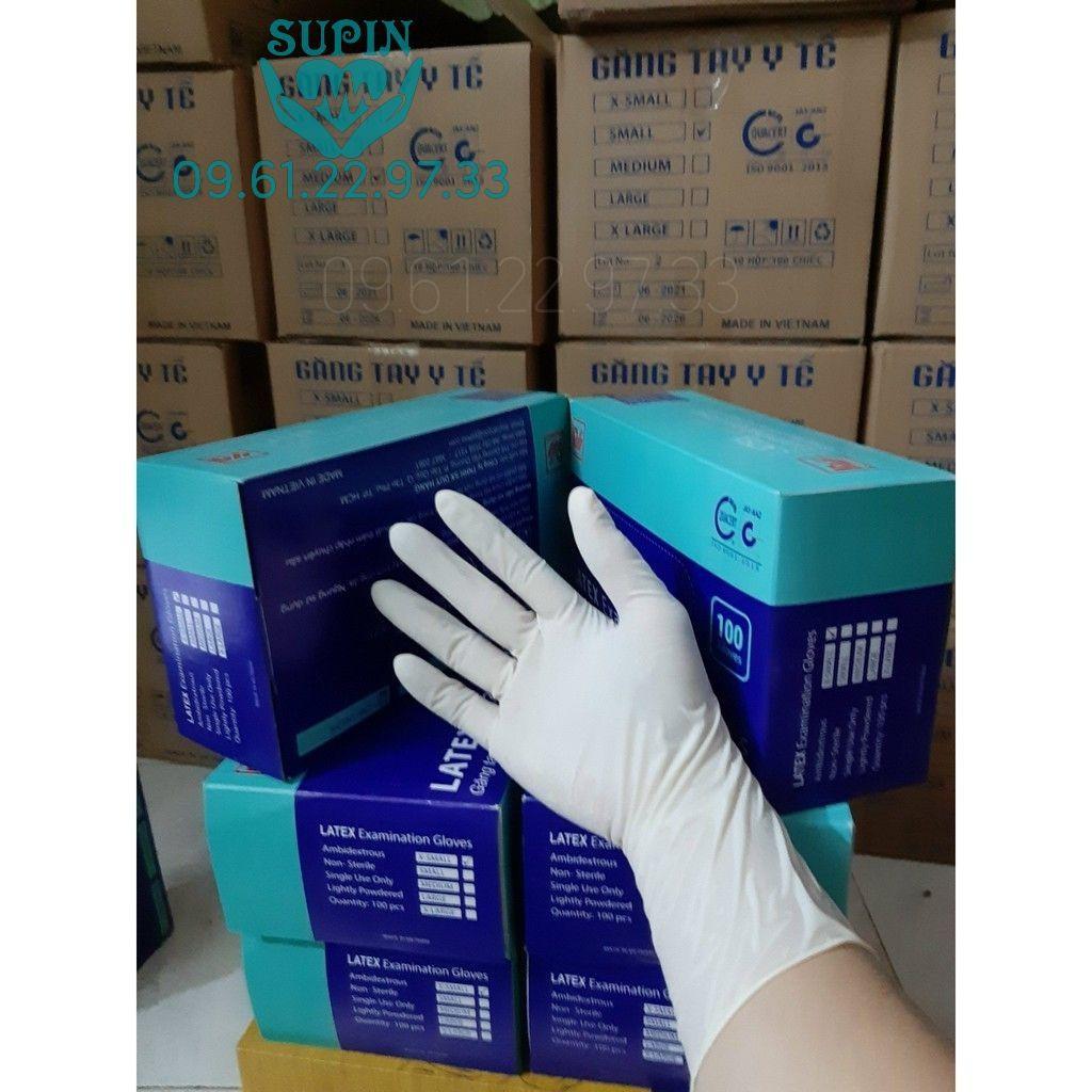 Găng tay y tế Duy Hàng LATEX cao su thiên nhiên _Hộp 50 đôi(100 cái)_Hàng loại 1:dày dặn,dẻo dai_1 màu kem_ 3 size S,M,L