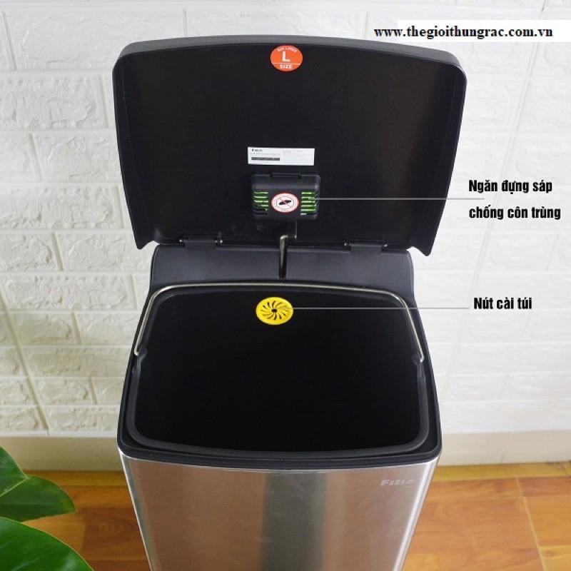 Thùng rác inox FITIS đạp vuông lớn dùng trong nhà bếp phòng khách văn phòng LSPL1-901