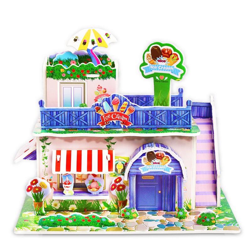 Mô Hình Lắp Ráp pilu Xếp hình Nhà xinh 3D trang trí nhà cửa decor phòng bằng giấy xốp nhà xốp NHAXOP01