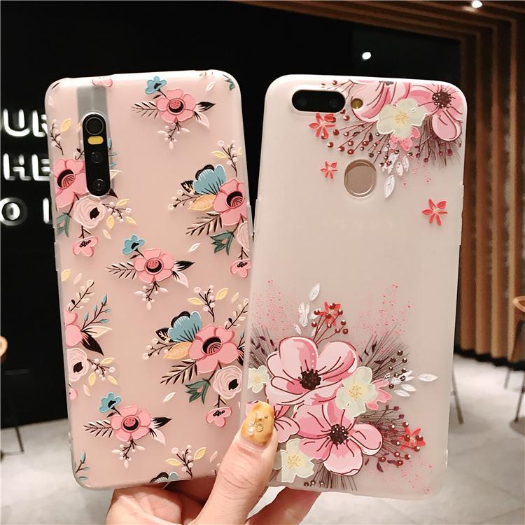 VIVO V15 Pro Y91 Y95 Y71 Y81 V5 Y65 V7 P Pink flowers phone tpu soft case