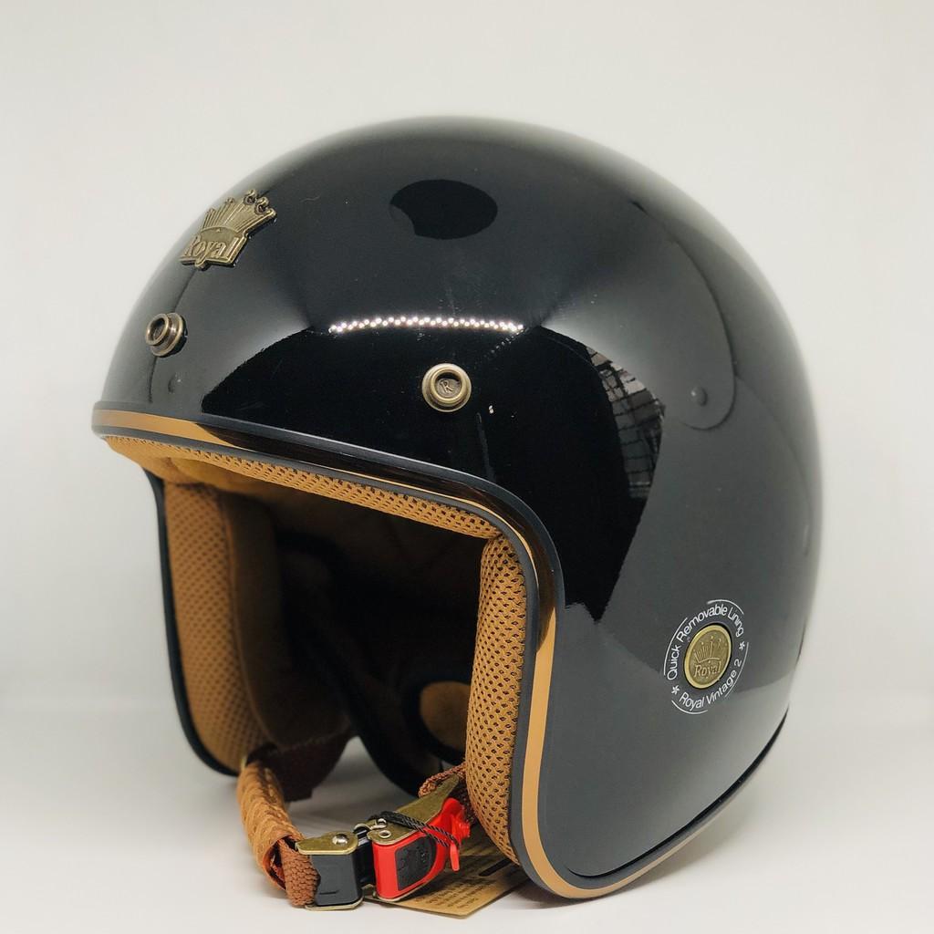 Nón bảo hiểm 3/4 ROYAL M20C đen bóng