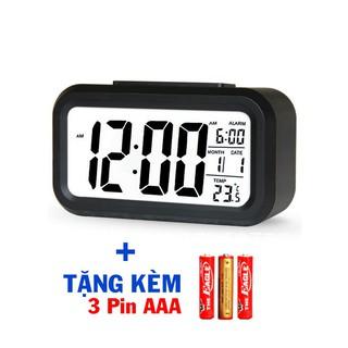 LC01 TẶNG 3x PIN - Đồng hồ báo thức kỹ thuật số với đèn LED- kèm chức năng đo nhiệt độ phòng