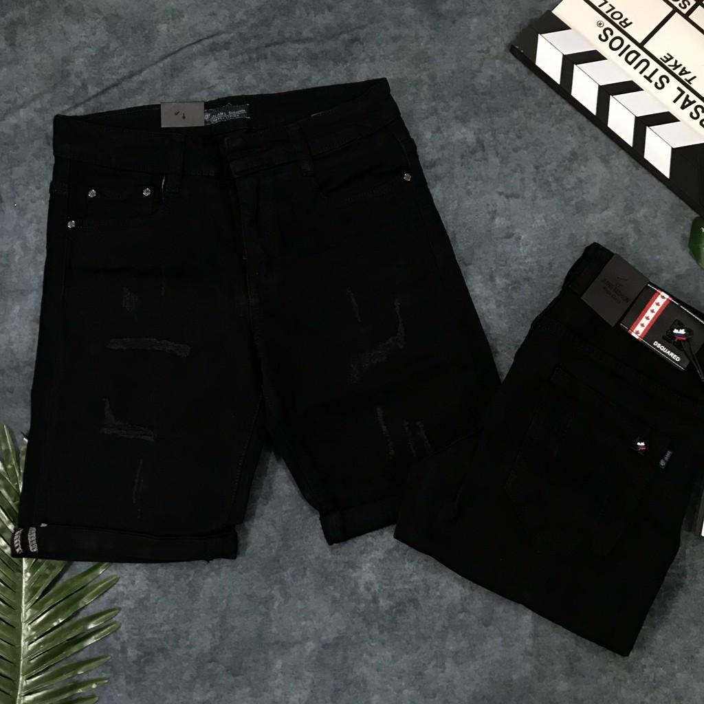 Quần Short Jeans Đen Xước Thời Trang Quần Jean