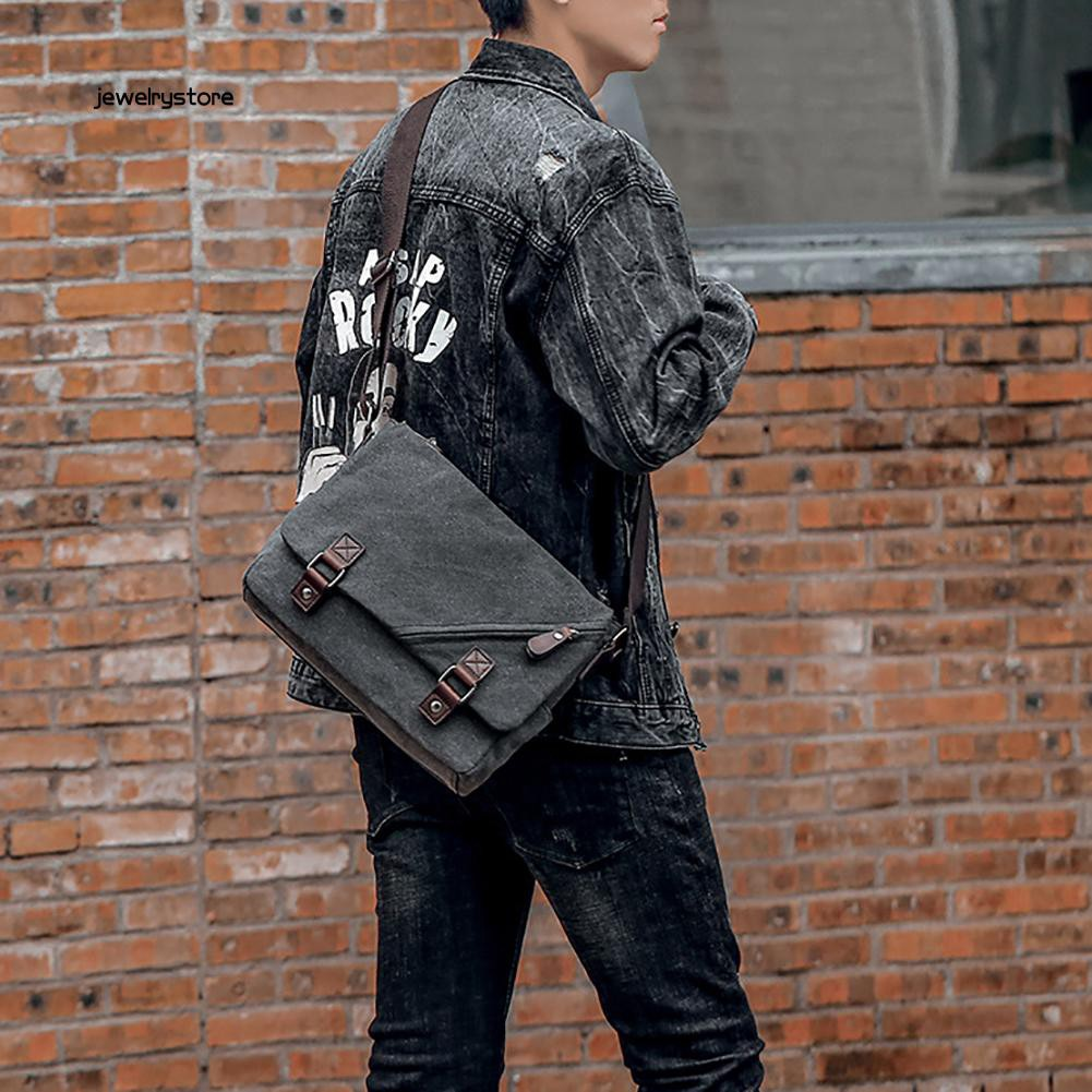 【JEW】Retro Oxford Fabric Men Waterproof Crossbody Messenger Shoulder Storage Bag