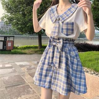 Set áo đồng phục nữ sinh sơ mi tay ngắn cổ sọc thắt cà vạt túi + váy ngắn lưng cao xòe kẻ caro xanh nơ ulzzang