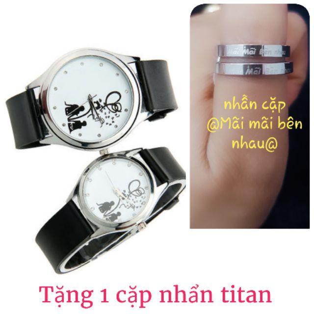 đồng hồ cặp/2cái Nam nữ tặng 1 cặp nhẫn và pin