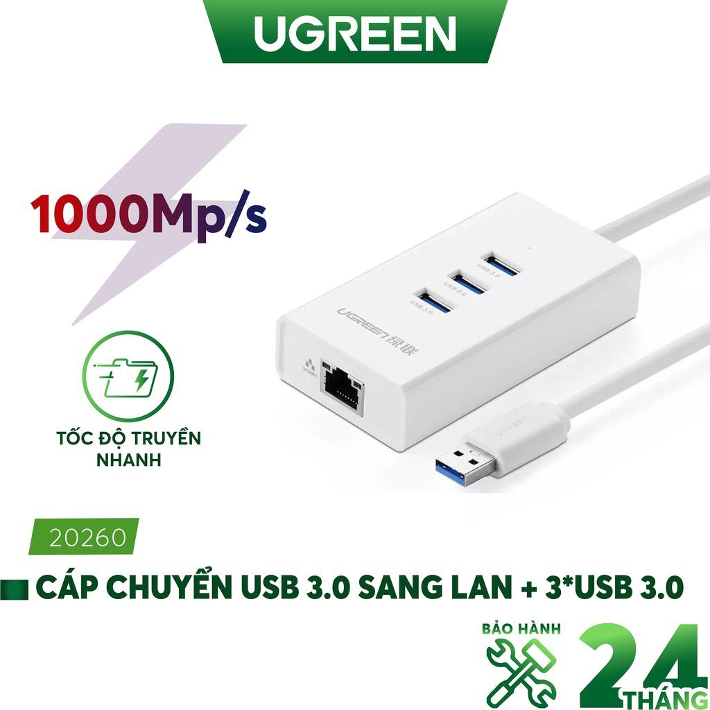 [Mã ELMALL300K giảm 5% đơn 500K] Cáp chuyển USB 3.0 to Lan Gigabit 10/100/1000Gbps + chia 3 cổng USB 3.0 Ugreen 20260