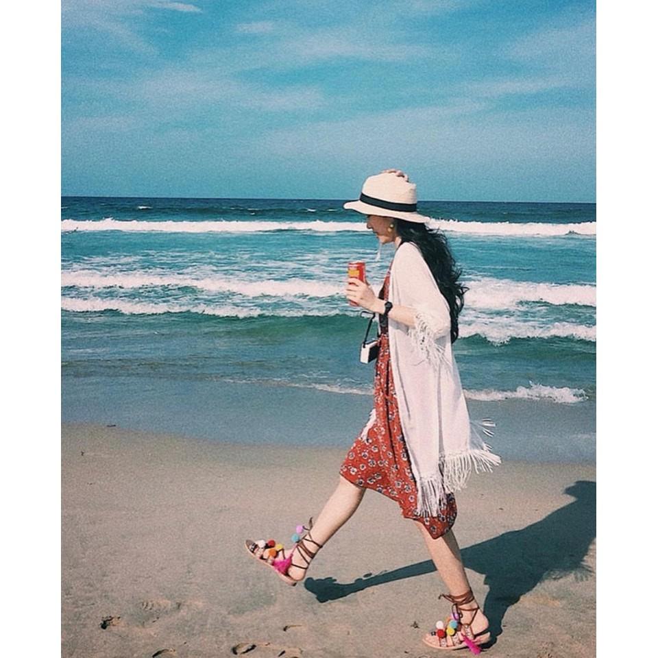 [SVC-80251476 giảm tới 15K đơn từ 150K] Sandal bom bom phong cách boho thích hợp đi biển, chụp ảnh thời trang